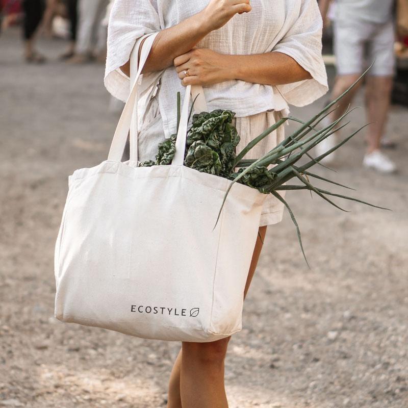 Bolsa ecológica grande Ecostyle® con mini bolsas internas en beige