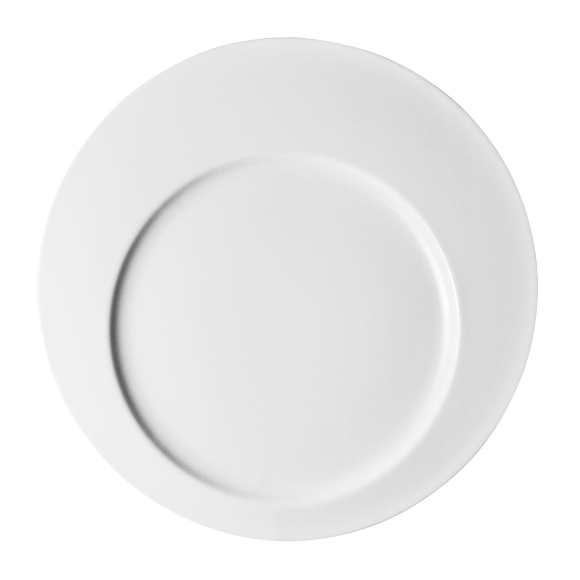 Plato de servicio redondo de porcelana en blanco