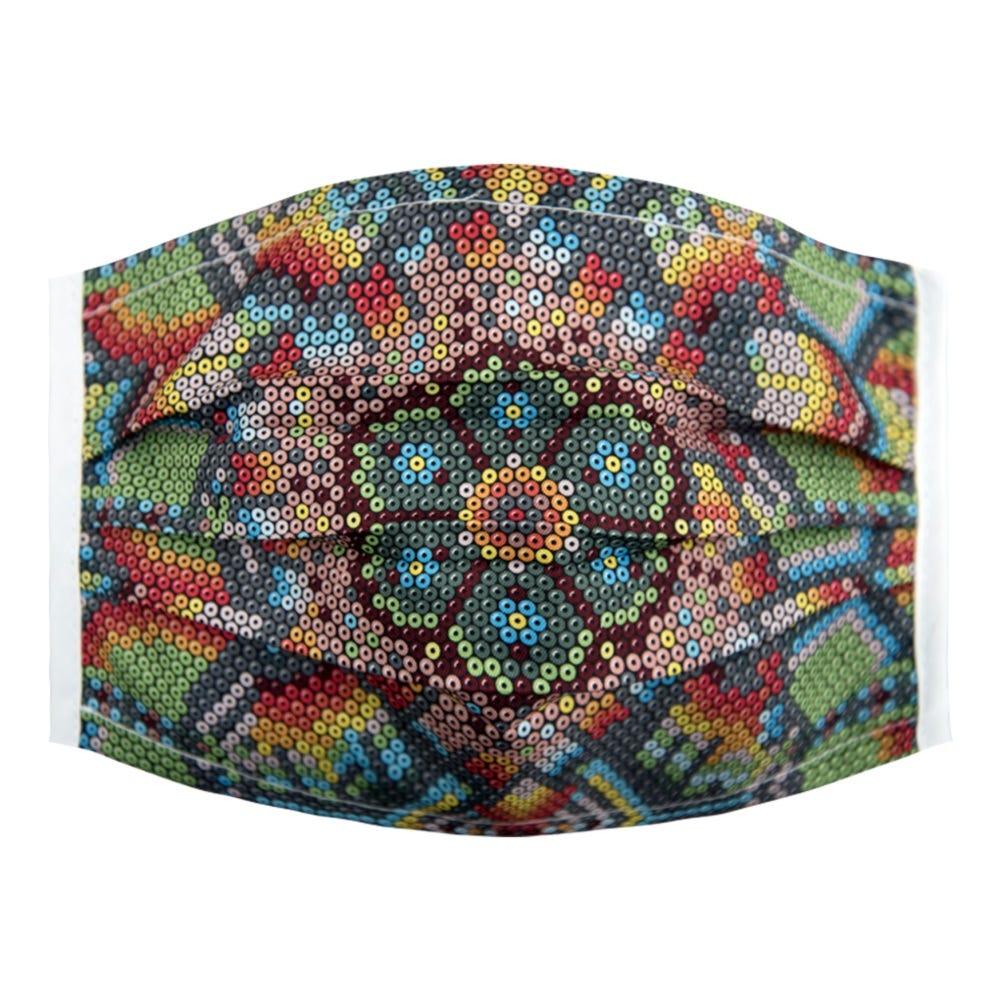 Cubrebocas de poliéster para dama Karaniart® con diseño de chaquira
