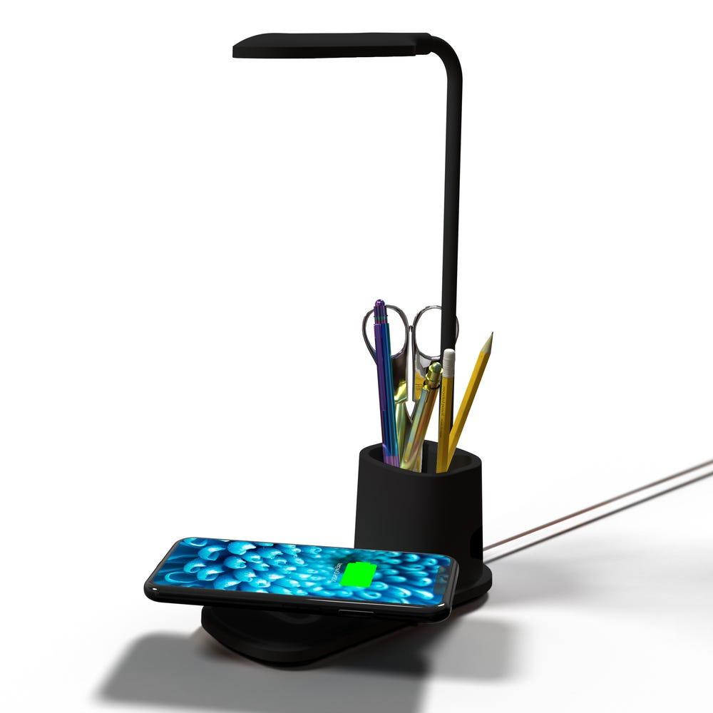 Lámpara LED de plástico Premier® con cargador inalámbrico color negro