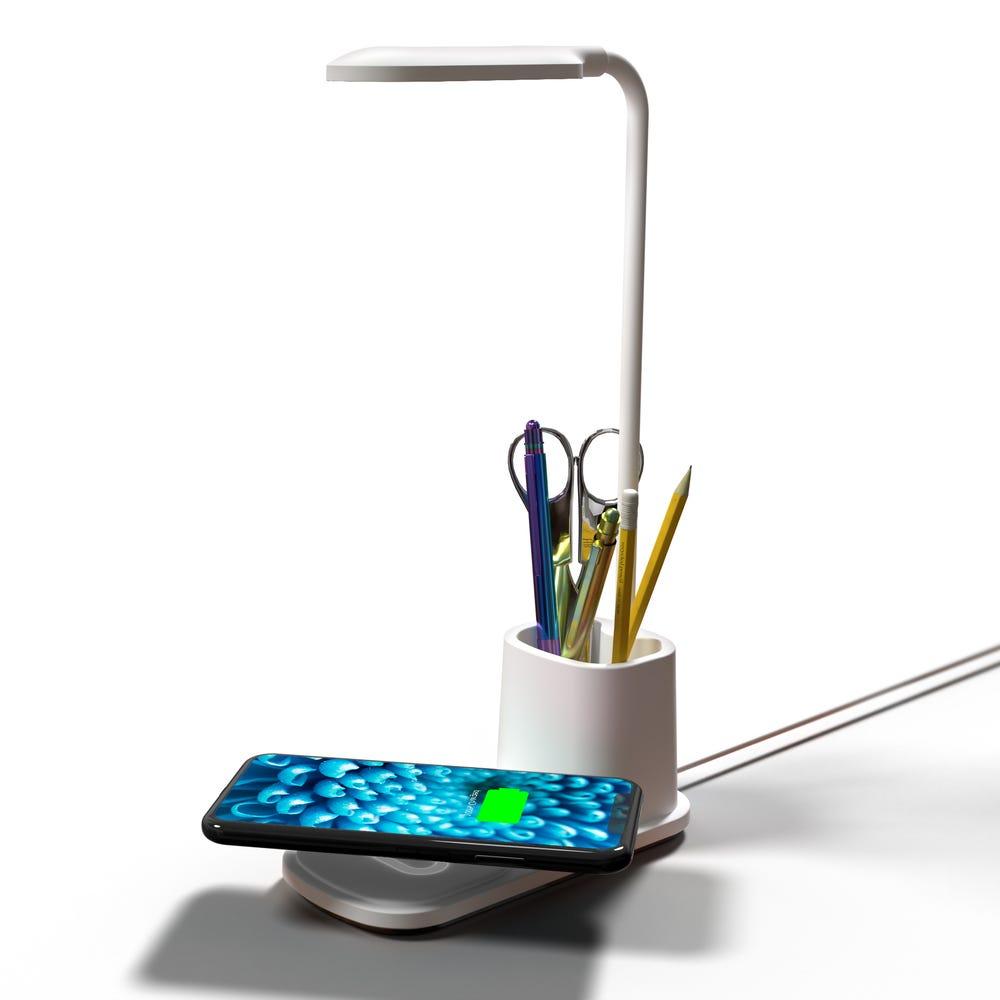 Lámpara LED de plástico Premier® con cargador inalámbrico color blanco