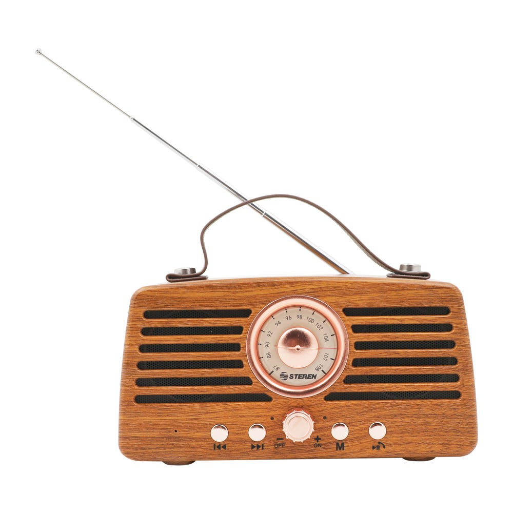 Bocina retro de plástico Steren® con radio FM