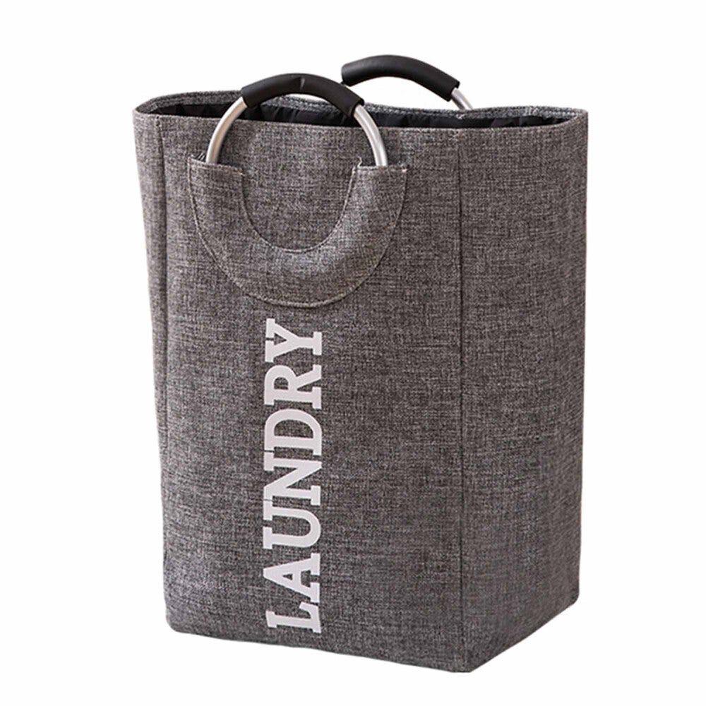 Cesto para ropa sucia de tela Makom Home color gris