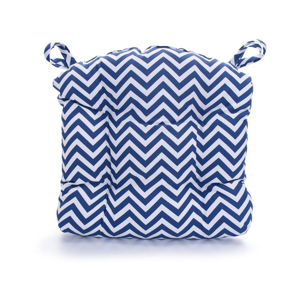 Cojín para silla de poliéster Saratoga® Zigzag color azul