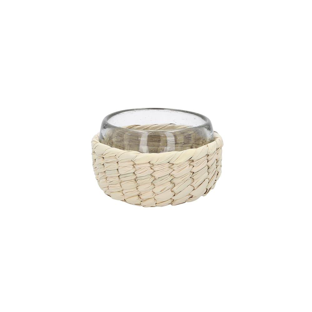Vaso mezcalero de cristal y fibra de palma AC Palma®