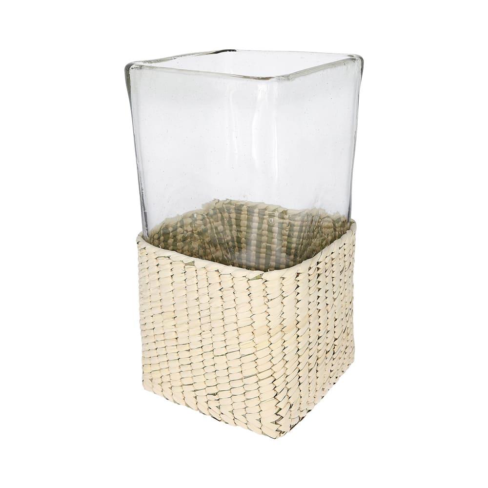 Florero de cristal y fibra de palma AC Palma® mediano