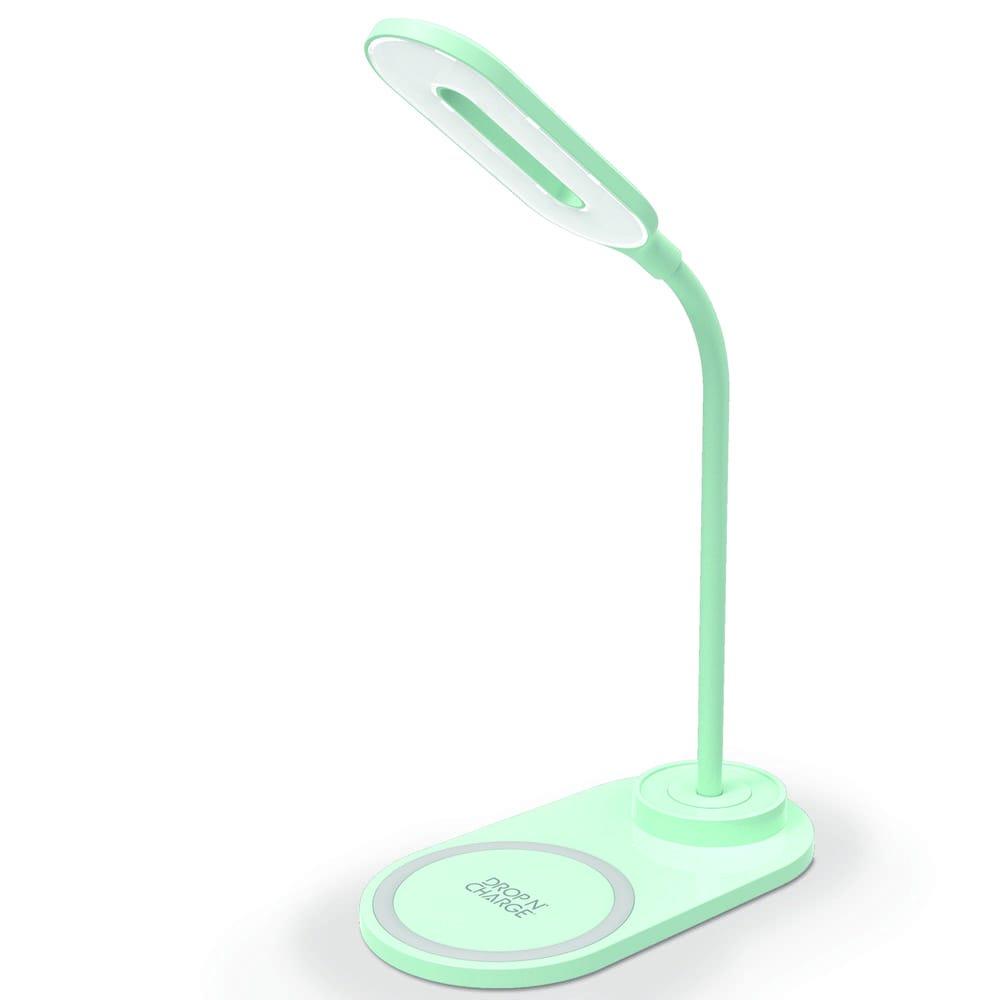 Lámpara LED de plástico Premier® con cargador inalámbrico color aqua