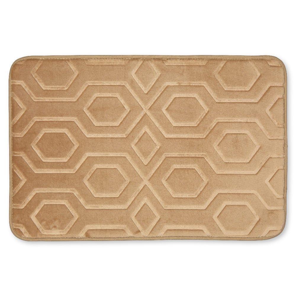 Tapete para baño de memory foam Casamia® con diseño de hexágonos color beige
