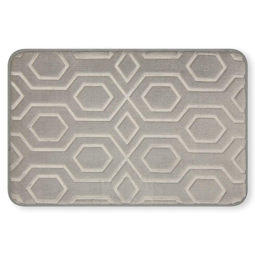 Tapete para baño de memory foam Casamia® con diseño de hexágonos color gris claro