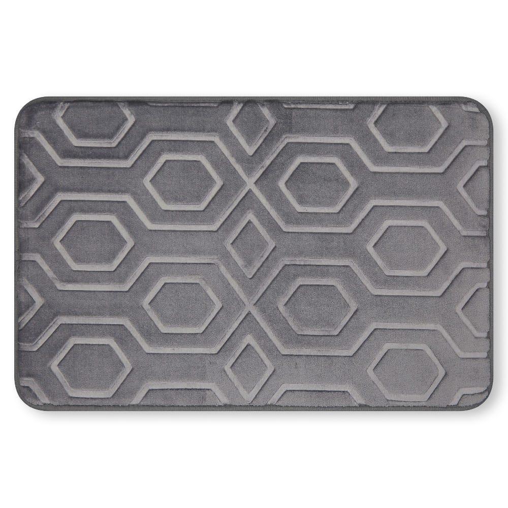 Tapete para baño de memory foam Casamia® con diseño de hexágonos color gris oscuro