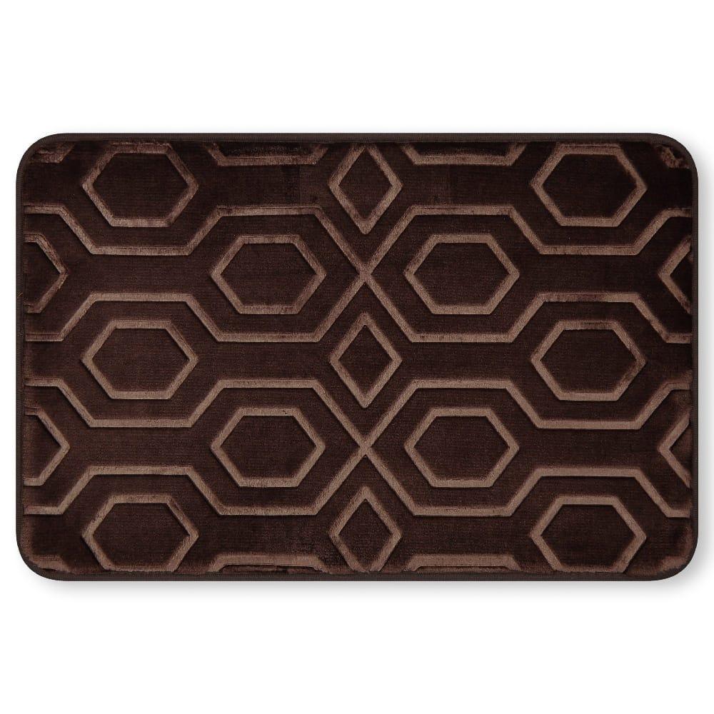 Tapete para baño de memory foam Casamia® con diseño de hexágonos color chocolate