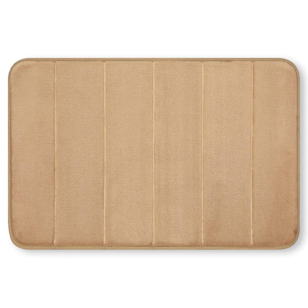 Tapete para baño de memory foam Casamia® a rayas color beige