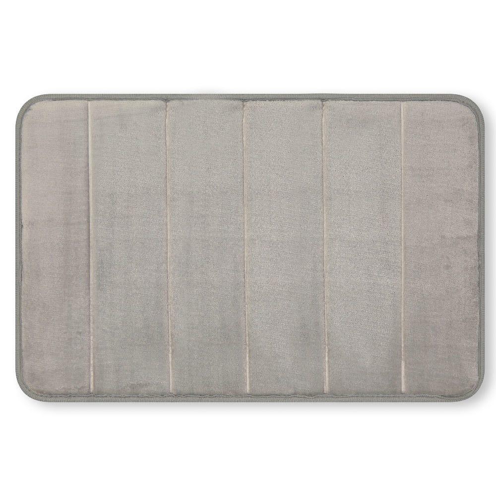 Tapete para baño de memory foam Casamia® a rayas color gris claro