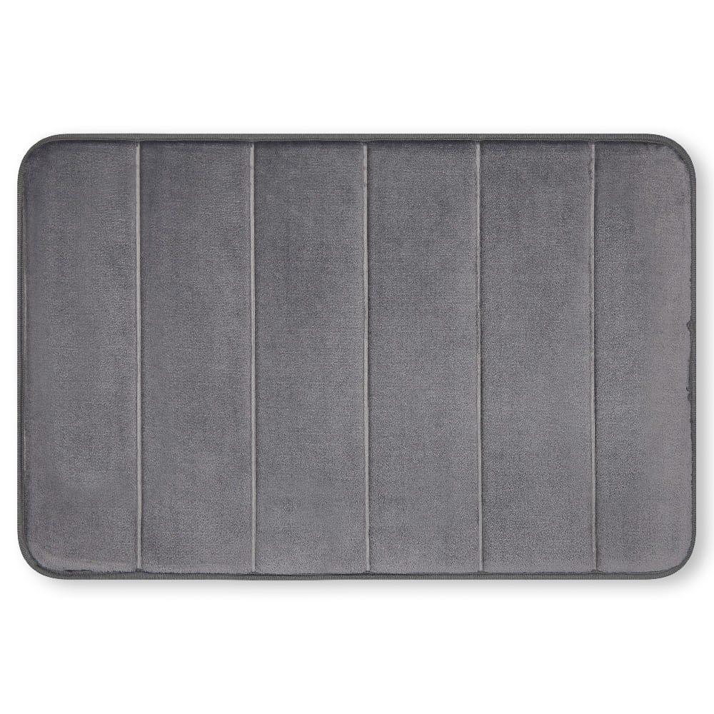 Tapete para baño de memory foam Casamia® a rayas color gris oscuro