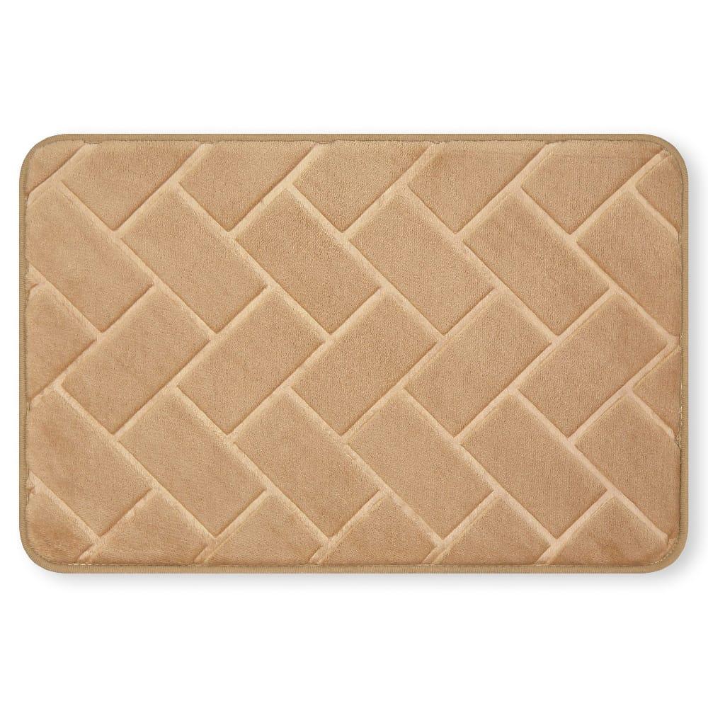 Tapete para baño de memory foam Casamia® con diseño de ladrillos color beige