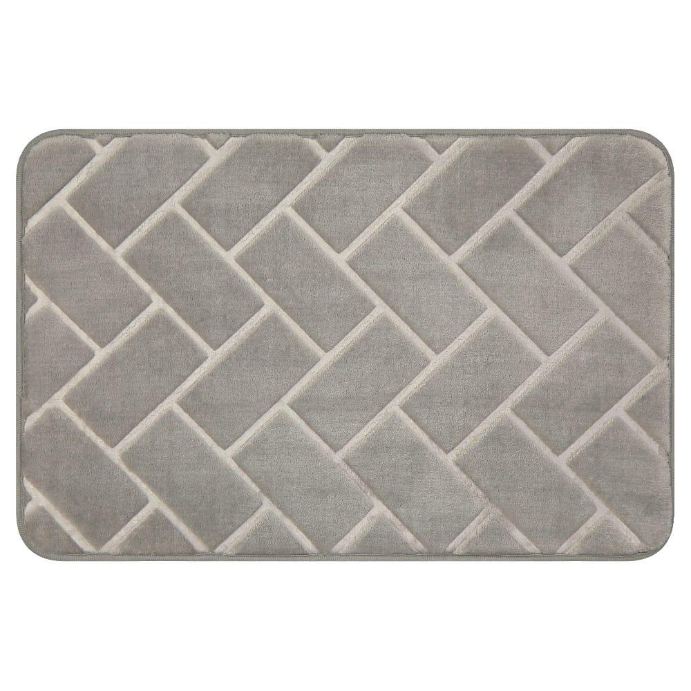 Tapete para baño de memory foam Casamia® con diseño de ladrillos color gris claro