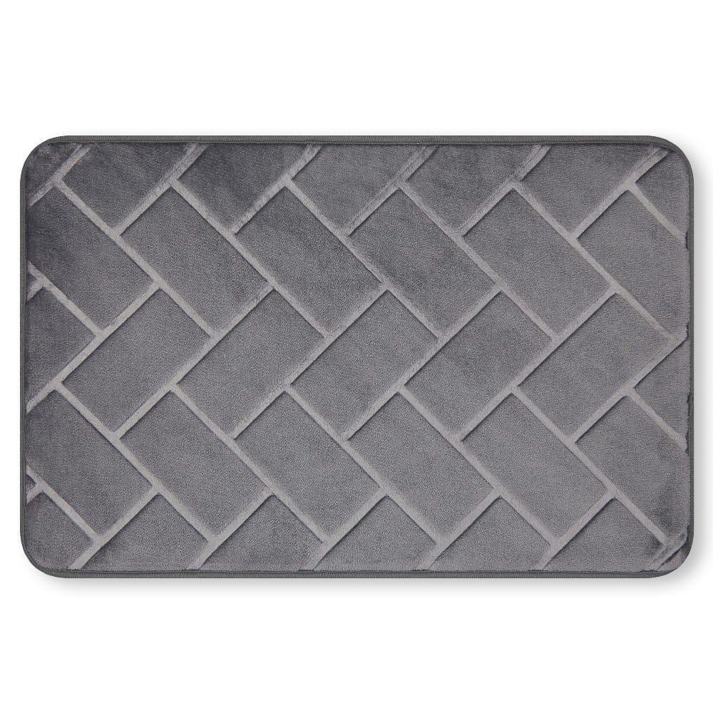 Tapete para baño de memory foam Casamia® con diseño de ladrillos color gris oscuro