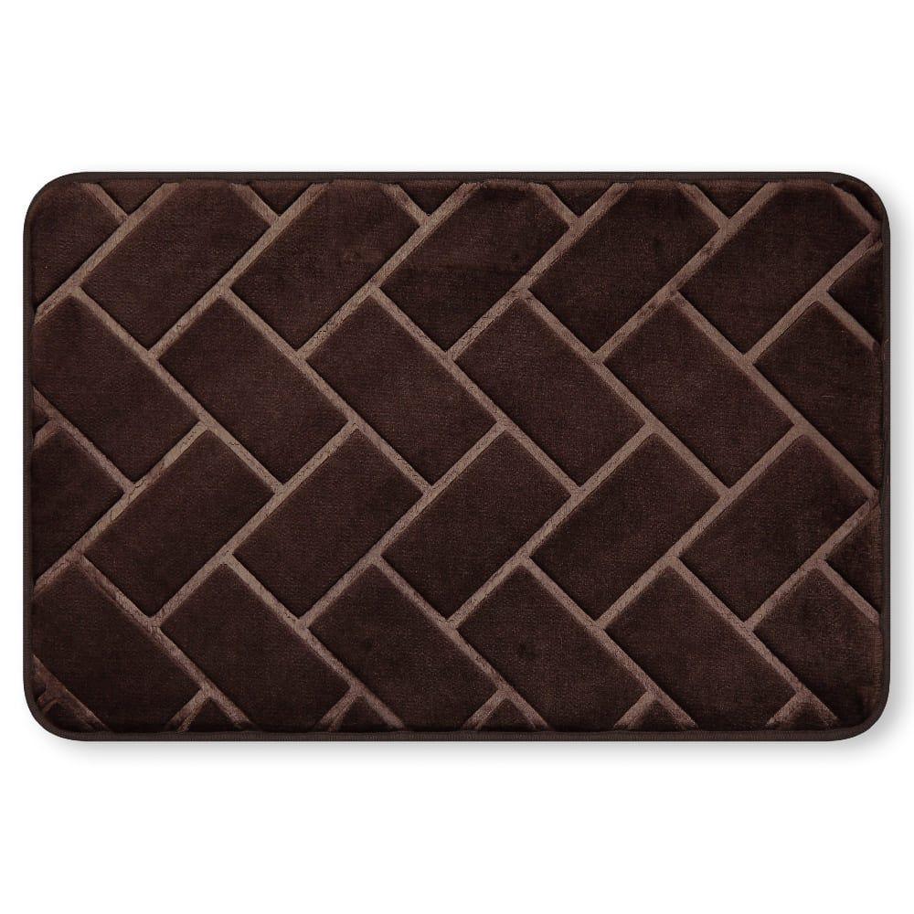 Tapete para baño de memory foam Casamia® con diseño de ladrillos color chocolate