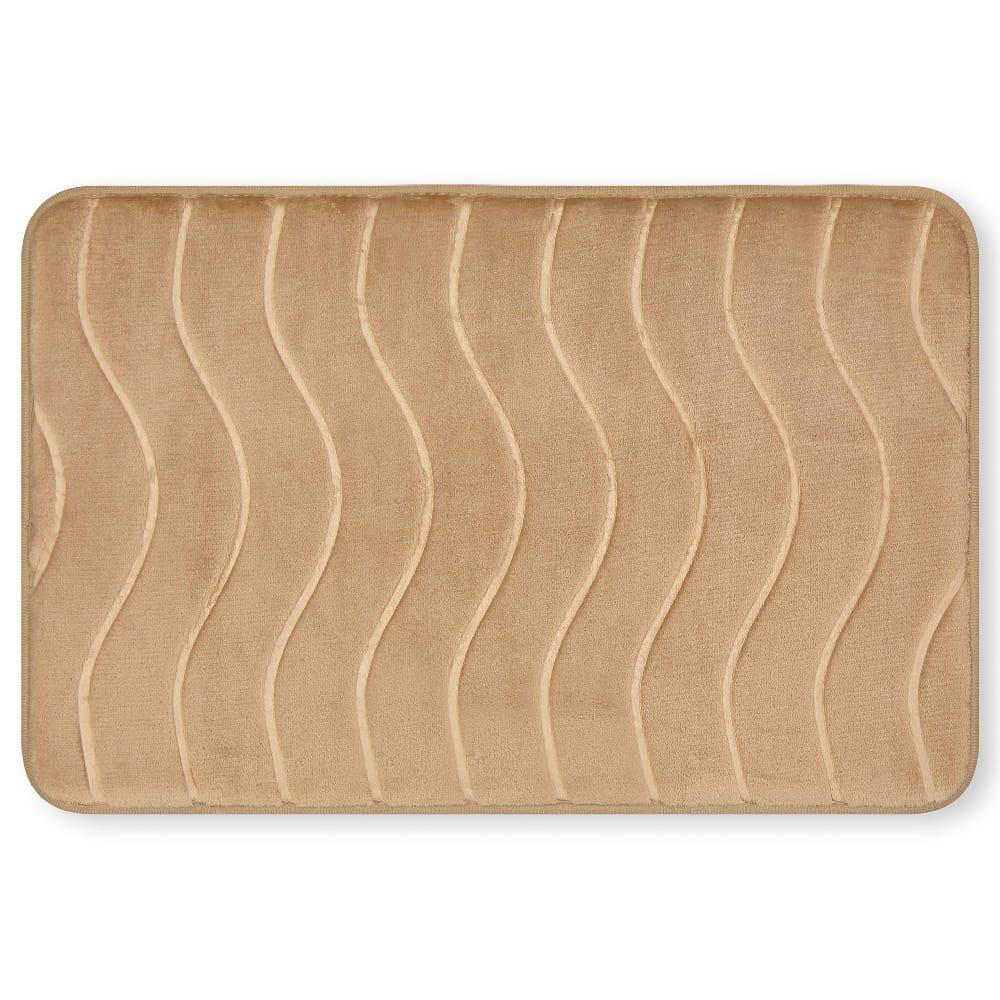 Tapete para baño de memory foam Casamia® con diseño de ondas color beige