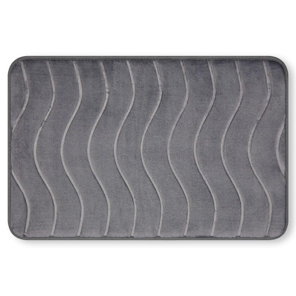 Tapete para baño de memory foam Casamia® con diseño de ondas color gris oscuro