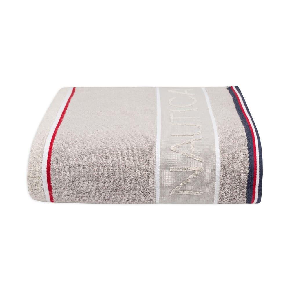 Toalla de medio baño de algodón Nautica® Radar color gris claro