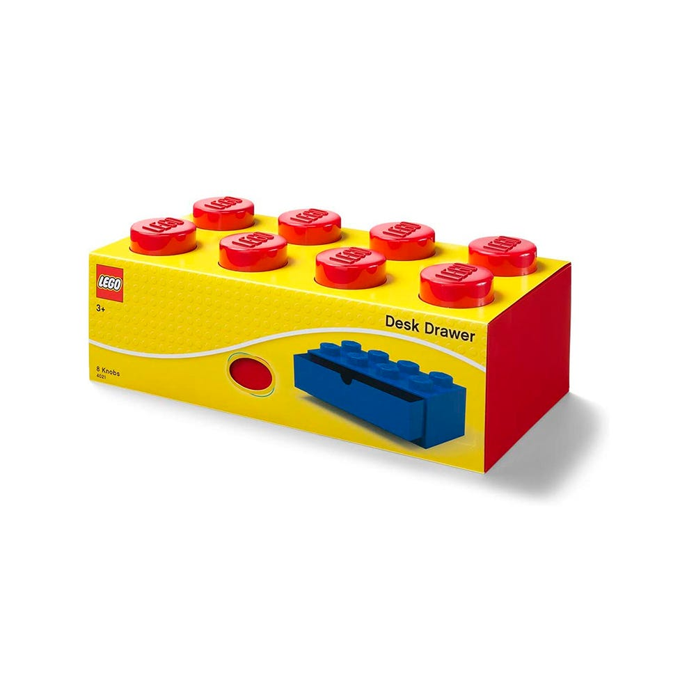 Cajón apilable de polipropileno LEGO® Brick 8 color rojo