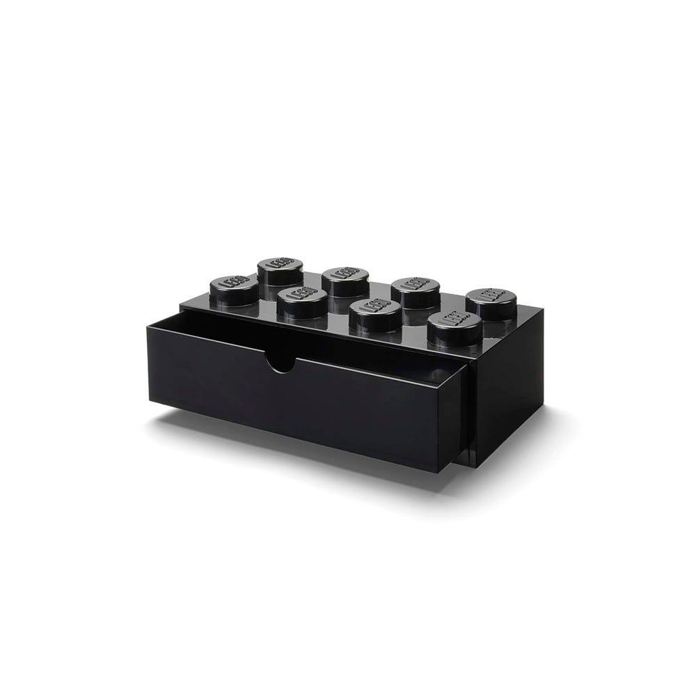 Cajón apilable de polipropileno LEGO® Brick 8 color negro
