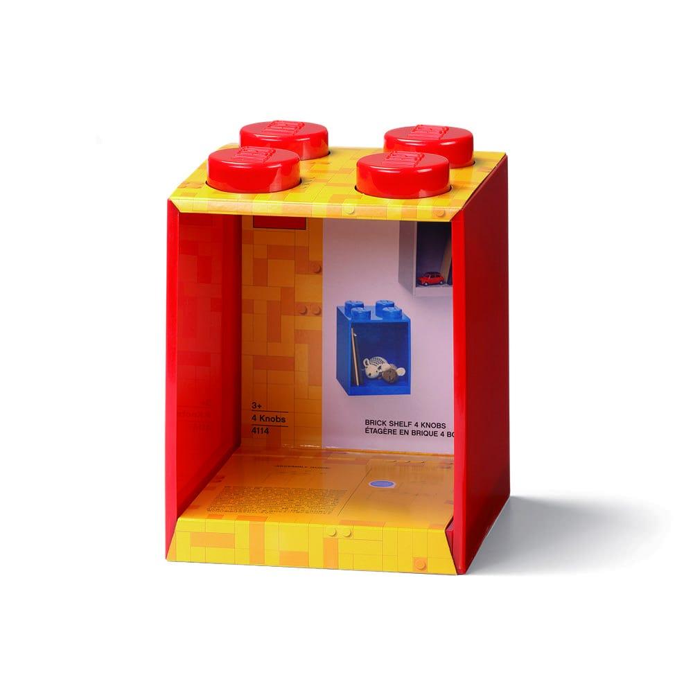 Repisa cuadrada de plástico LEGO® Brick 4 color rojo