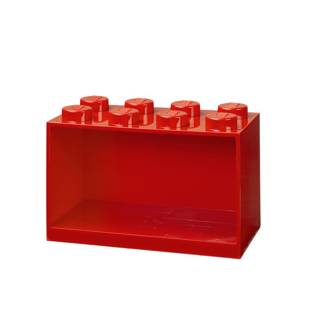 Repisa cuadrada de plástico LEGO® Brick 8 color rojo