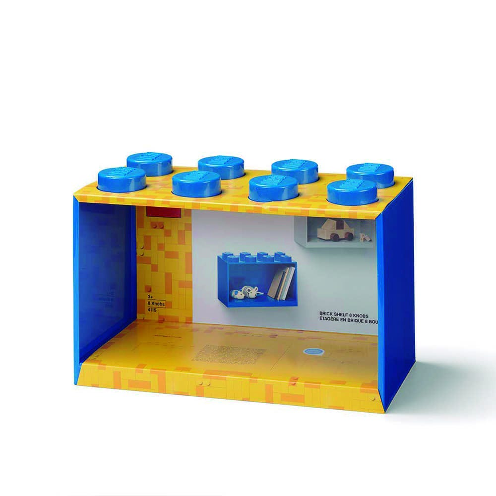Repisa cuadrada de plástico LEGO® Brick 8 color azul