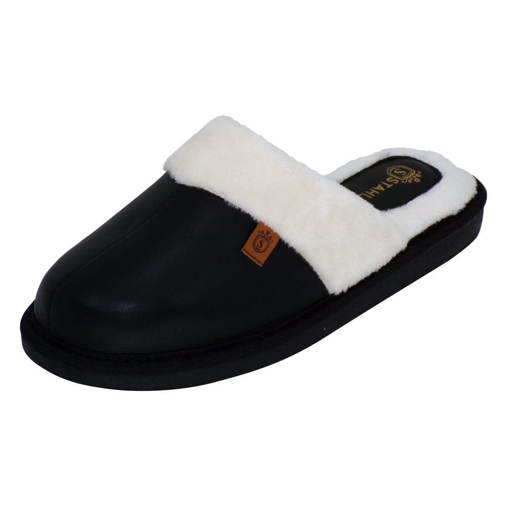 Pantuflas para mujer G de piel Stahl® color negro, talla 26