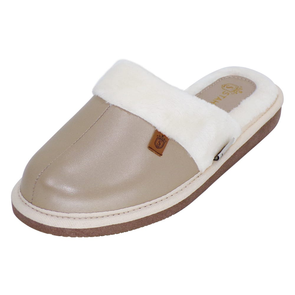 Pantuflas para mujer CH de piel Stahl® color plata, talla 24
