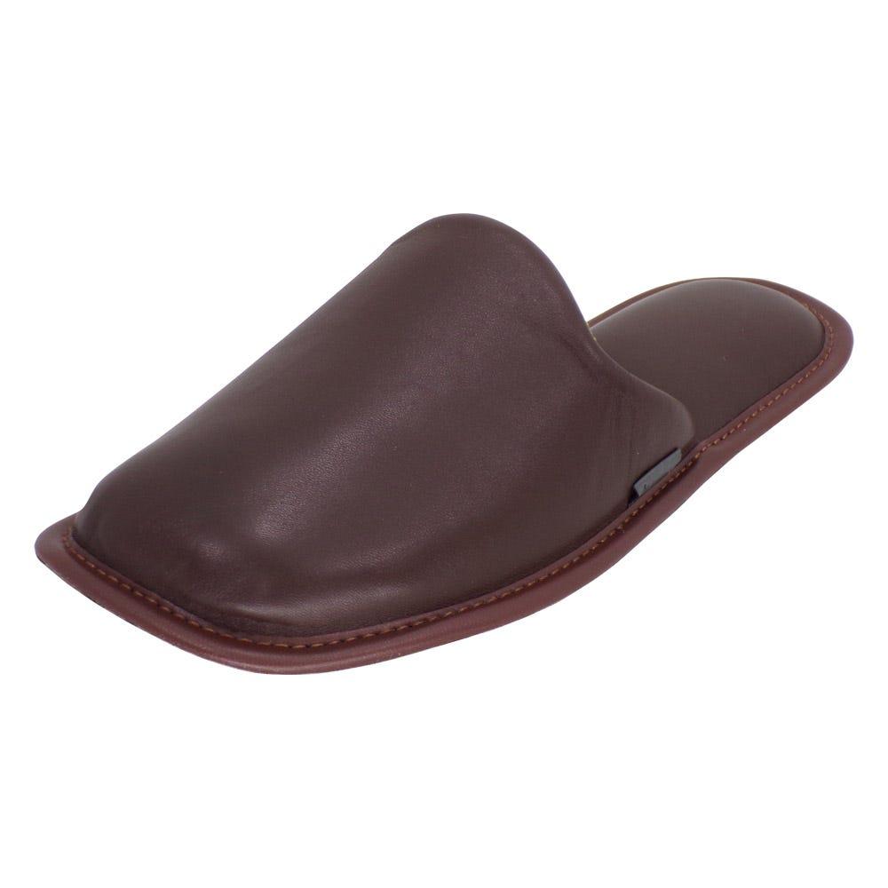 Pantuflas para hombre G de piel Stahl® color moca, talla 29