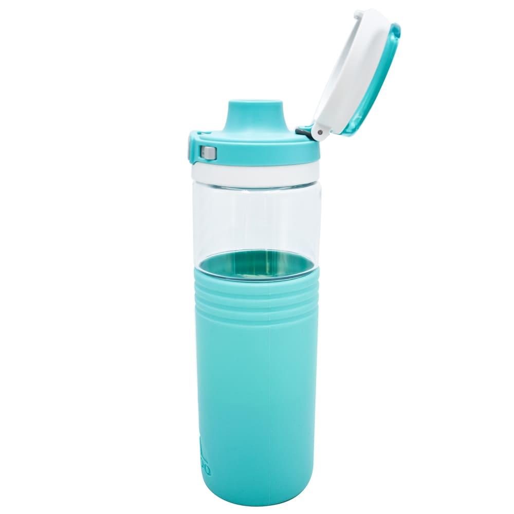 Botella de tritán Cool Gear Tahoe con base de silicón color aqua