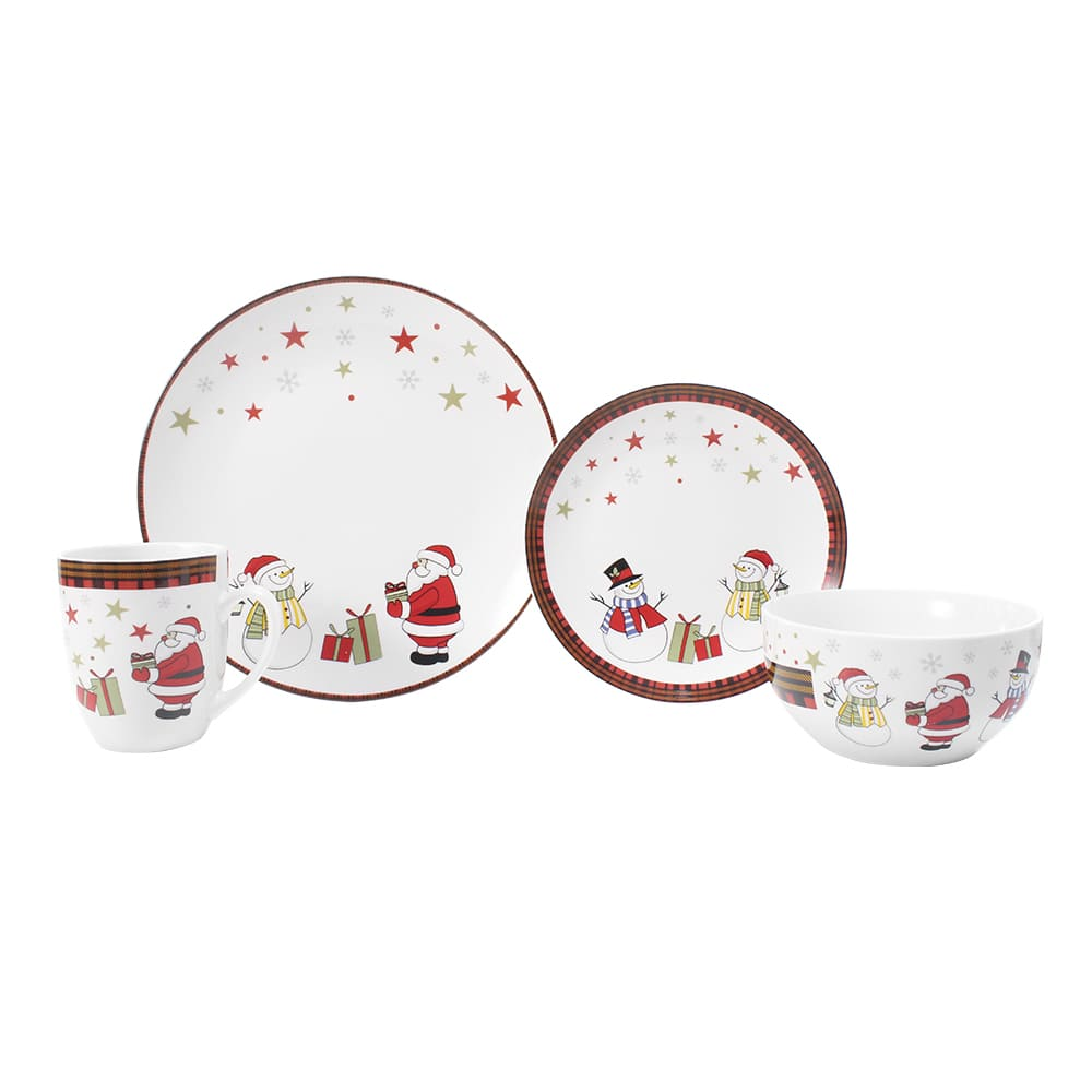 Vajilla de porcelana Crown Baccara Christmas Eve, 16 piezas