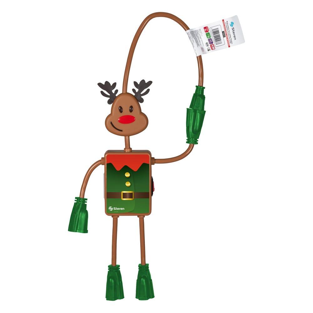 Multicontacto navideño Steren con forma de reno
