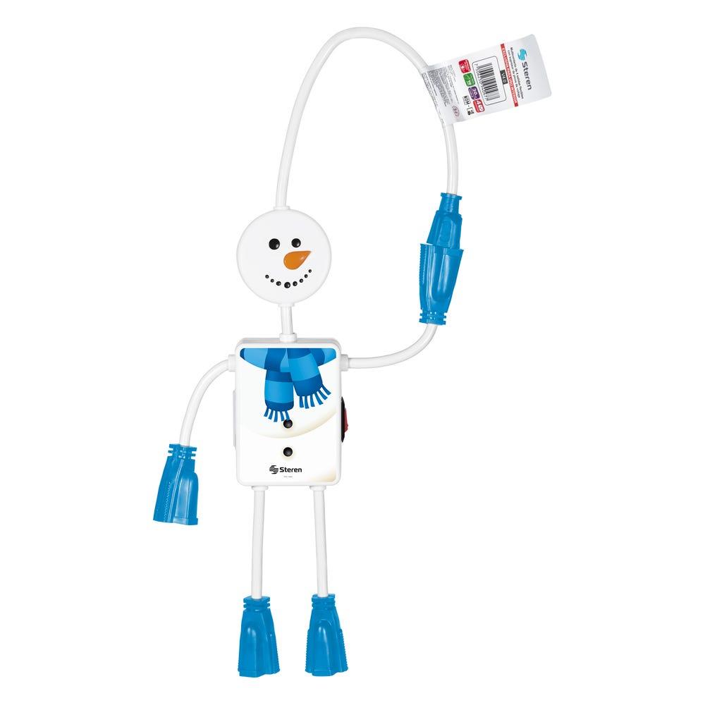 Multicontacto navideño Steren con forma de muñeco de nieve