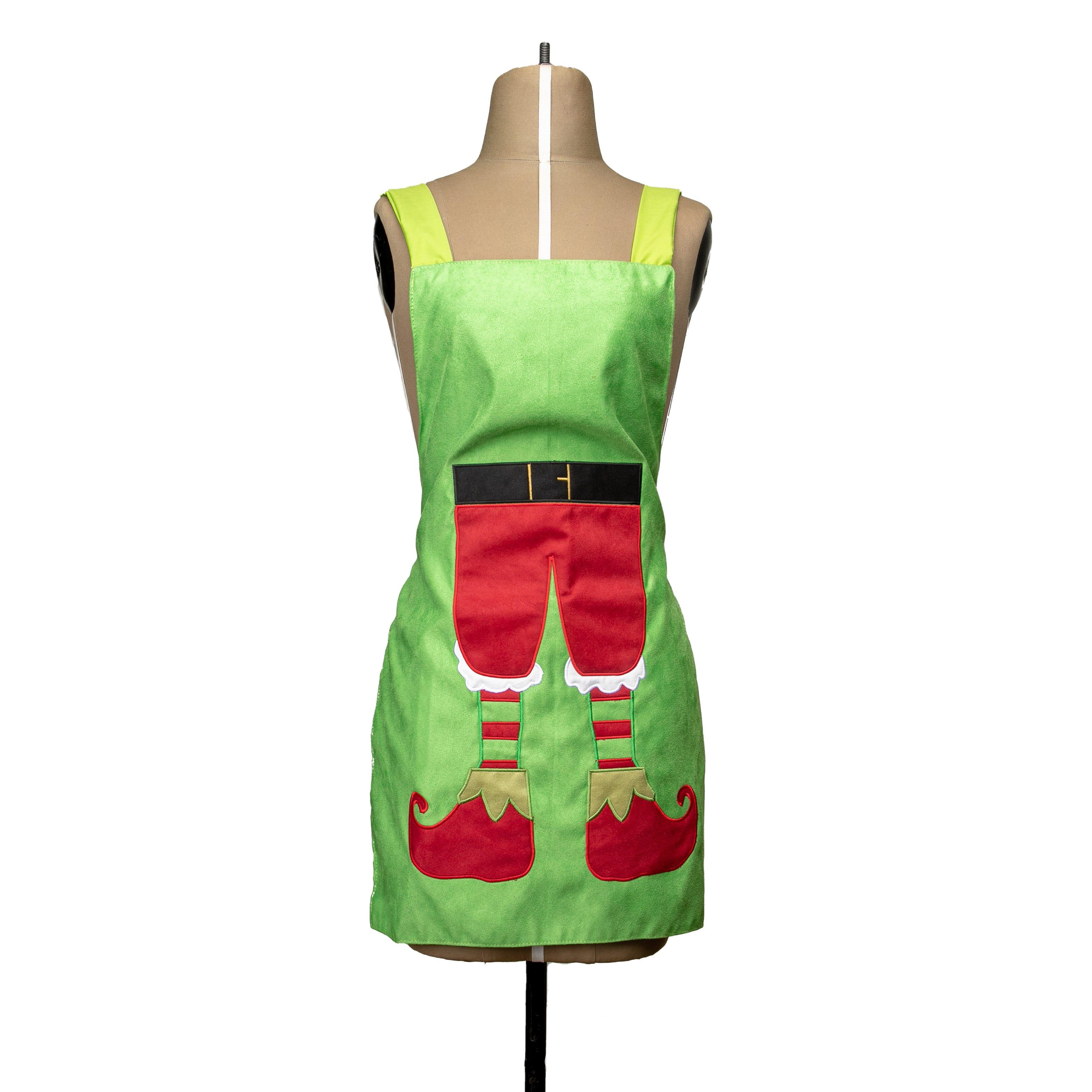 Delantal mediano de poliéster Bartolla™ con diseño de elfo color verde