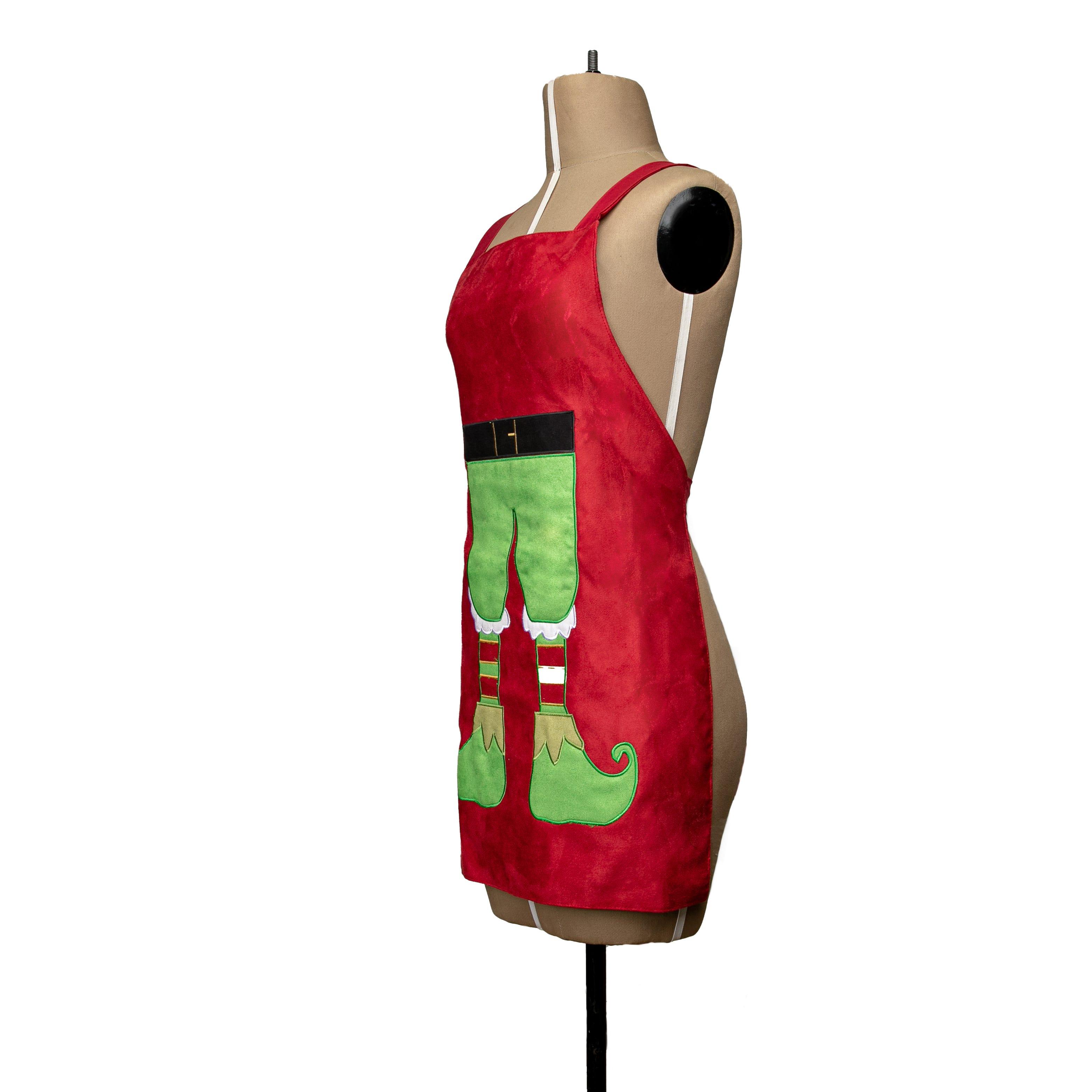 Delantal mediano de poliéster Bartolla™ con diseño de elfo color rojo