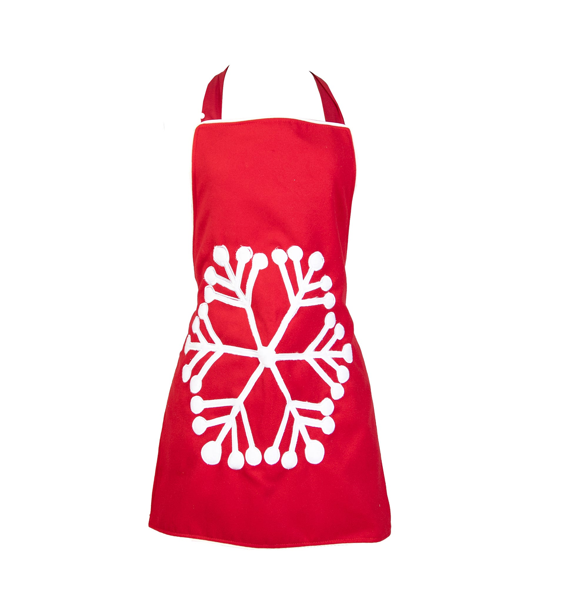 Delantal mediano de poliéster Bartolla™ Algarabia con diseño de copo de nieve color rojo