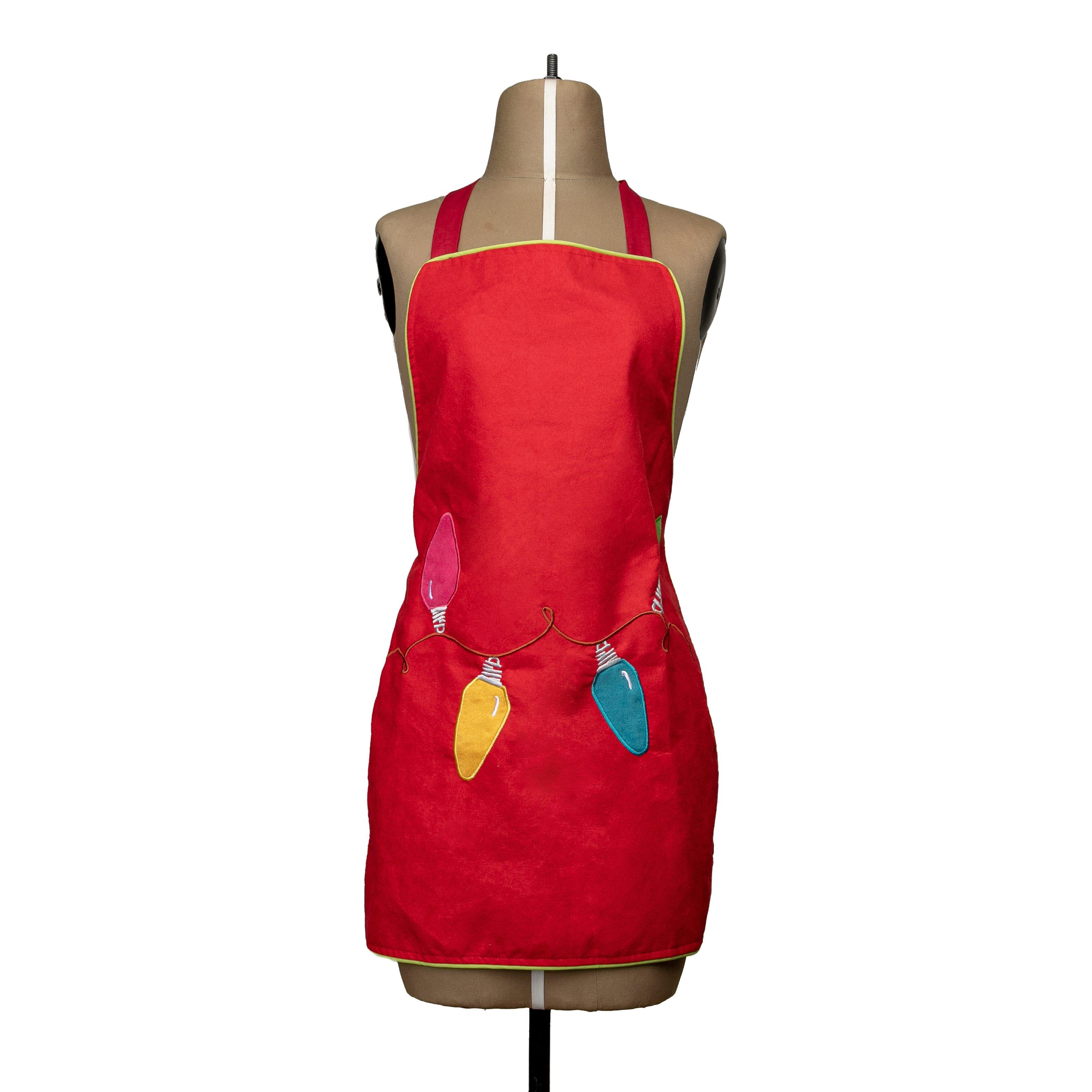Delantal mediano de poliéster Bartolla™ con diseño de focos color rojo