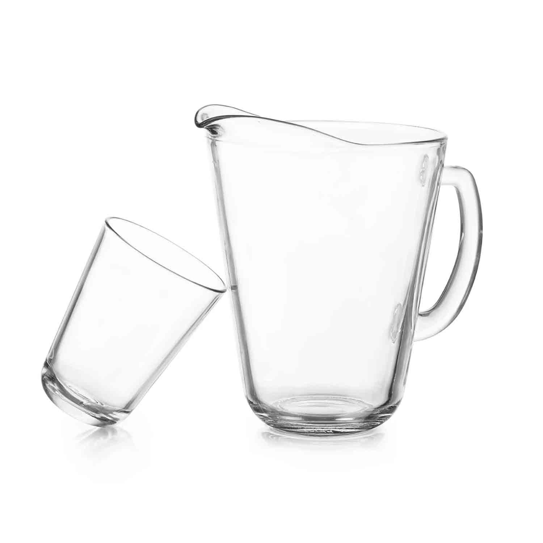 Set de jarra y vasos de vidrio Crisa Calipso