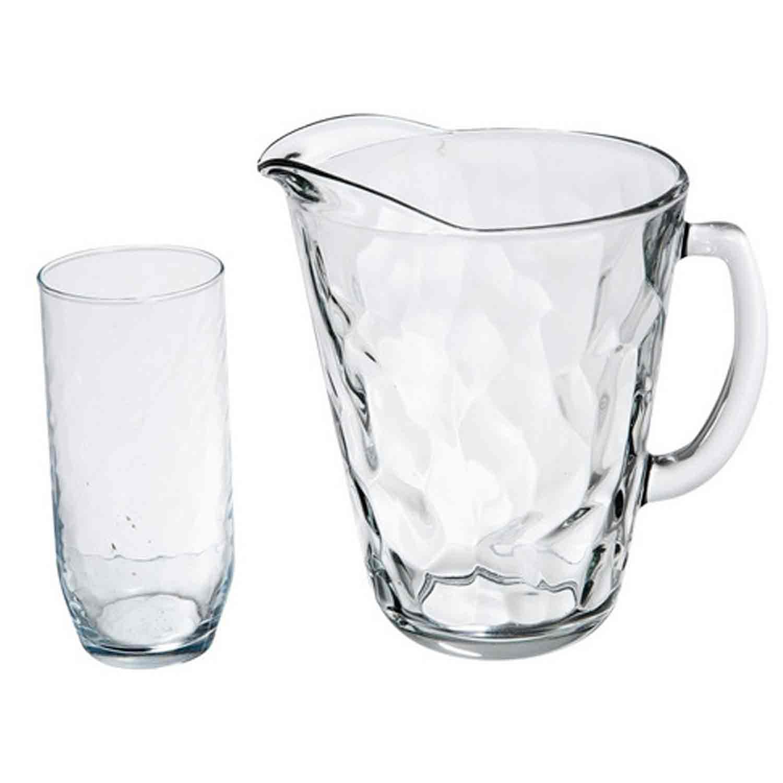 Set de jarra y vasos de vidrio Crisa Alaska
