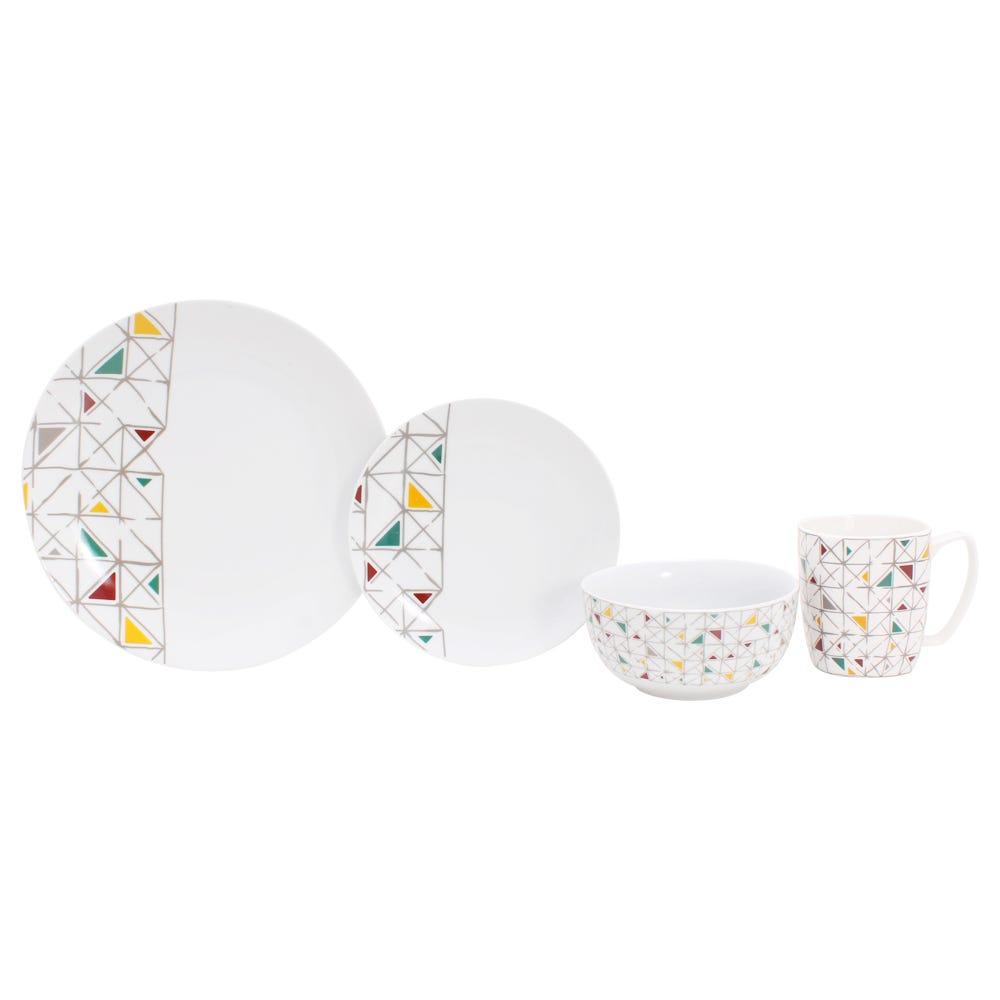 Vajilla de porcelana Crown Baccara Marsella, Set de 16 piezas
