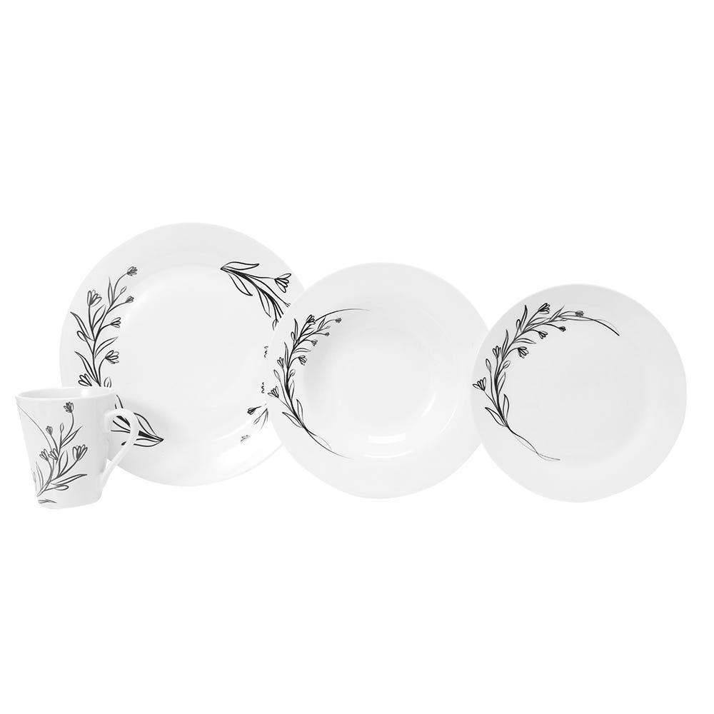Vajilla de porcelana Crown Baccara Iveta, Set de 16 piezas