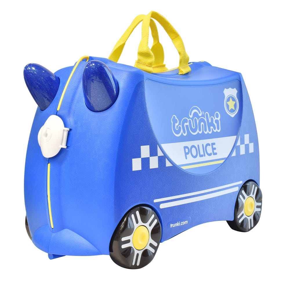 Maleta infantil de plástico Trunki con diseño de policía color azul