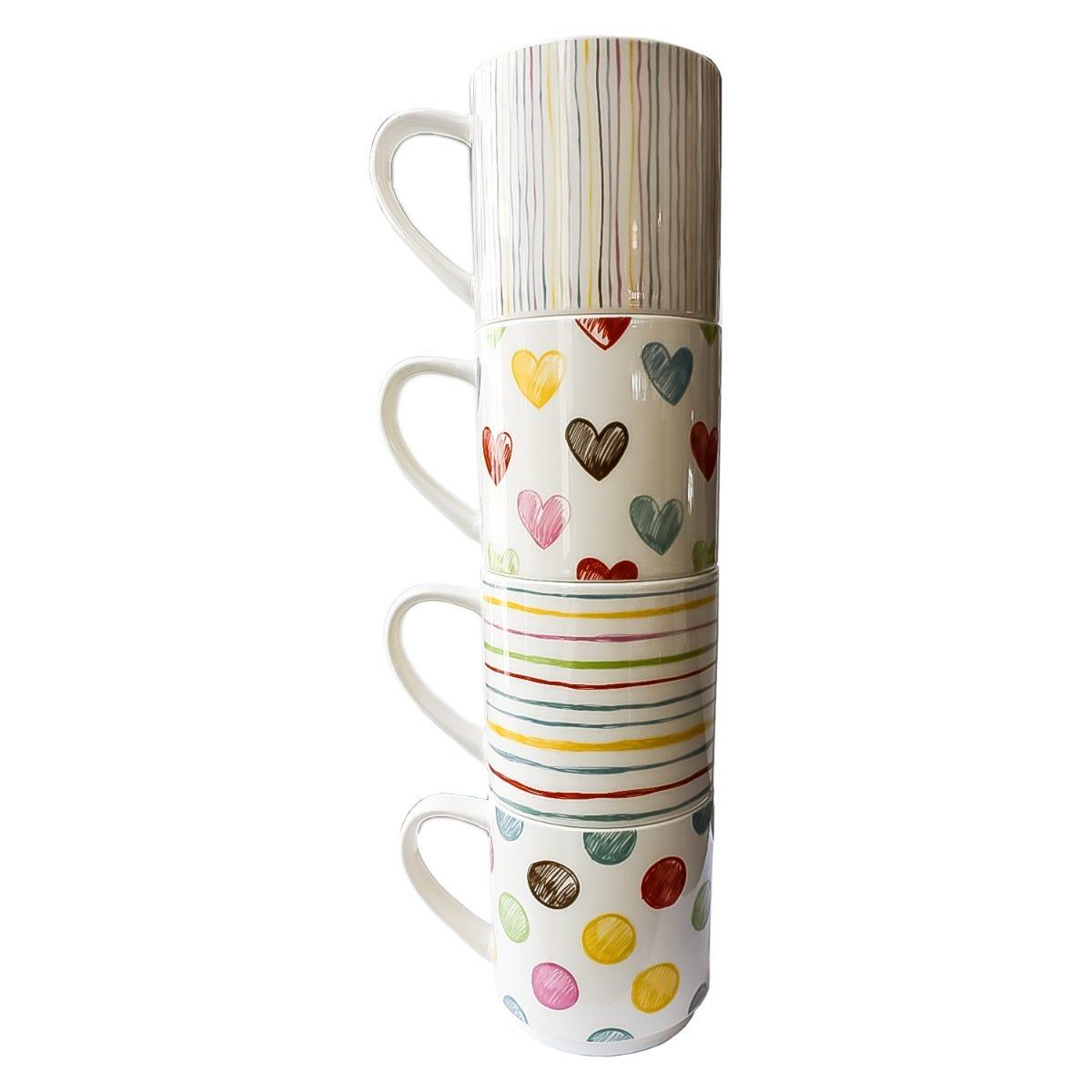 Tazas de porcelana Nuvó apliables en varios colores, Set de 4