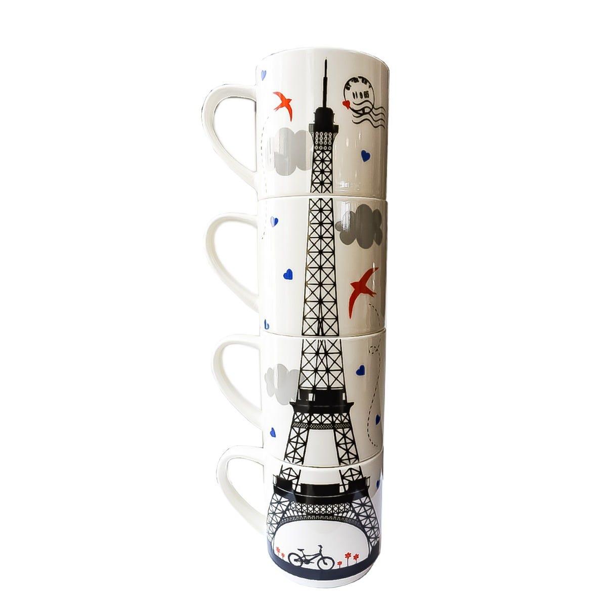 Tazas apilables de porcelana Nuvó con diseño de la Torre Eiffel, Set de 4