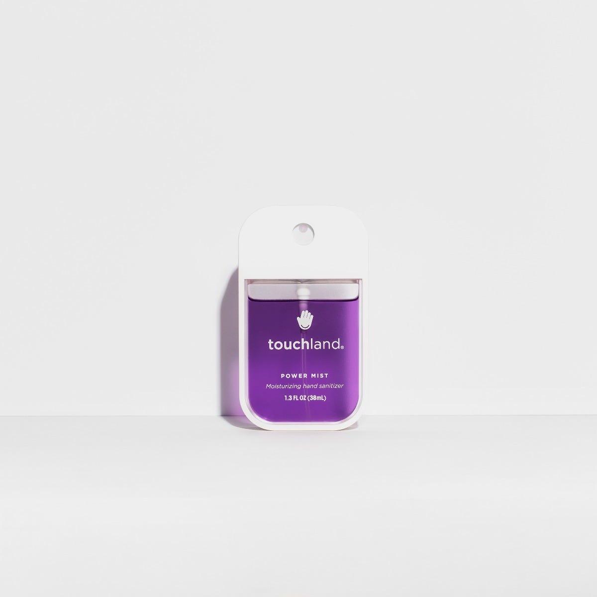 Spray antibacterial para manos Touchland aroma lavanda en morado